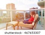 little boy relax on the balcony ...   Shutterstock . vector #467653307