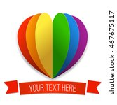 rainbow heart with a ribbon.... | Shutterstock .eps vector #467675117