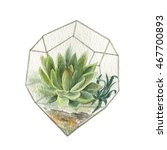 hand drawn watercolor aquariums ... | Shutterstock . vector #467700893