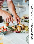 family dinner with roasted... | Shutterstock . vector #467760593