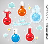 stickers with cute thermometers ... | Shutterstock .eps vector #467786693