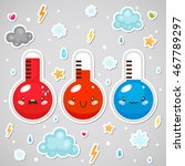 stickers with cute thermometers ... | Shutterstock .eps vector #467789297