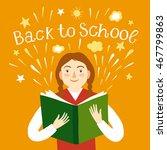 cartoon schoolgirl holding a... | Shutterstock .eps vector #467799863