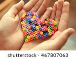 heart made of hama beads in... | Shutterstock . vector #467807063