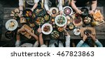 table with food  top view | Shutterstock . vector #467823863