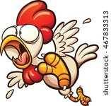scared cartoon chicken. vector... | Shutterstock .eps vector #467833313