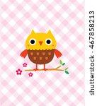 cute owl in spring | Shutterstock .eps vector #467858213