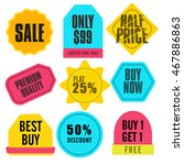 set of colorful sale stickers ... | Shutterstock .eps vector #467886863