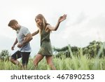 outdoor shot of young couple... | Shutterstock . vector #467890253