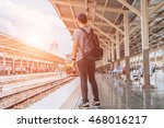 man and backpack in train... | Shutterstock . vector #468016217