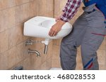 close up of young handyman...   Shutterstock . vector #468028553