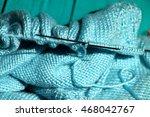 aqua blue knitting wool and... | Shutterstock . vector #468042767