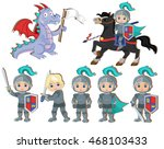 vector set of cute little... | Shutterstock .eps vector #468103433