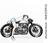 girl take nap on motorcycle | Shutterstock . vector #468103913