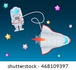 astronaut in space among the... | Shutterstock .eps vector #468109397