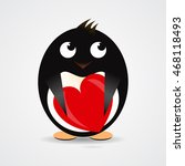 romantic penguin with a red... | Shutterstock . vector #468118493