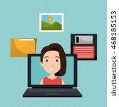 woman folder floppy laptop... | Shutterstock .eps vector #468185153