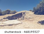 Small photo of Entrance to the treasury of Atreus, also known as tomb of Agamemnon, in Mycenae, Greece. Vintage style.