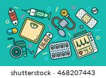 medical concept line art bright ... | Shutterstock .eps vector #468207443