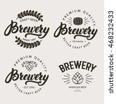 set of vintage brewery badge ... | Shutterstock .eps vector #468232433