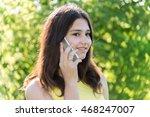 cute girl talking on the phone... | Shutterstock . vector #468247007