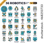 robotic technology outline... | Shutterstock .eps vector #468253733