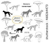 savanna animals set. hand drawn ... | Shutterstock . vector #468264473