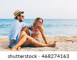 young couple in love lying on... | Shutterstock . vector #468274163