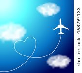 plane in the clouds with heart... | Shutterstock . vector #468292133