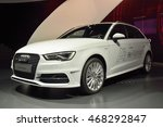 Small photo of WOLFSBURG, GERMANY - APRIL 15, 2016. Audi A3 e-tron car on display at Audi showroom in Autostadt theme park in Wolfsburg.
