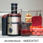 squeezing tomato juice at home. ... | Shutterstock . vector #468324767