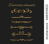 gold text dividers set.... | Shutterstock .eps vector #468355823