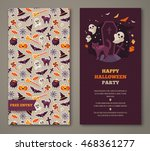 halloween two sides poster ... | Shutterstock .eps vector #468361277