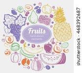 fruit vector frame veggie... | Shutterstock .eps vector #468392687