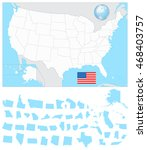 usa blank map with it's... | Shutterstock .eps vector #468403757