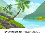 the lonely boatman in a calm... | Shutterstock .eps vector #468420713