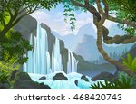 waterfalls over a rocky cliff