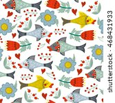 vector lovely pattern of fishes ...   Shutterstock .eps vector #468431933