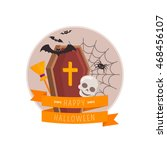 coffin and skull. halloween... | Shutterstock .eps vector #468456107