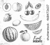 vintage set of fresh fruits... | Shutterstock .eps vector #468472637