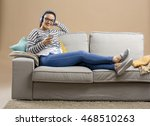 beautiful woman at home sitting ... | Shutterstock . vector #468510263