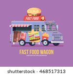 colorful vector fast food truck.... | Shutterstock .eps vector #468517313