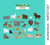 animals flat design vector... | Shutterstock .eps vector #468527267
