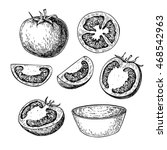 tomato vector drawing set.... | Shutterstock .eps vector #468542963