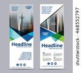 mock up roll up design. flag ... | Shutterstock .eps vector #468552797