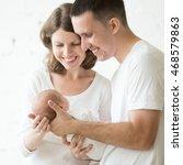 portrait of happy mother and... | Shutterstock . vector #468579863