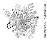 flower doodle vector  coloring... | Shutterstock .eps vector #468602063