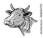 cow head  in a graphic style.... | Shutterstock .eps vector #468604793