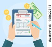 tax form with money | Shutterstock .eps vector #468622943