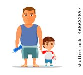 happy dad and son after gym.... | Shutterstock .eps vector #468632897